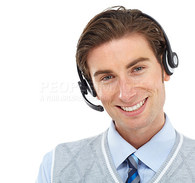 Buy stock photo Portrait of a young man wearing a headset while alongside copyspace