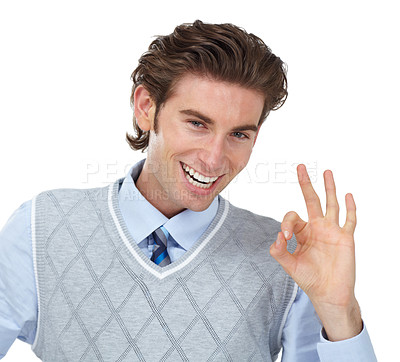 Buy stock photo A young man giving you the a-okay while isolated on a white background