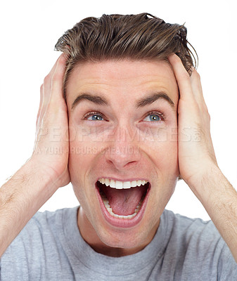 Buy stock photo Young man yelling excitedly - isolated