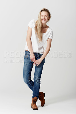 Buy stock photo Full length studio portrait of a happy and attractive young woman