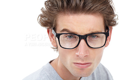 Buy stock photo Handsome young man looking at the camera - copyspace
