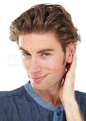 Buy stock photo Portrait of a young man touching his hair
