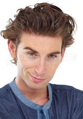 Buy stock photo Portrait of a young man smirking at you