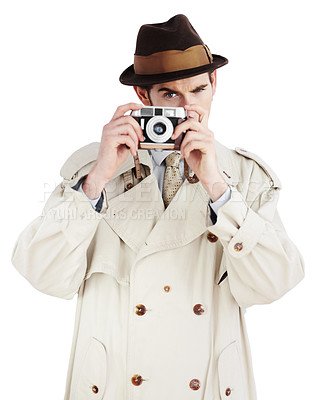 Buy stock photo Reporter taking a photo with a retro camera against a white background