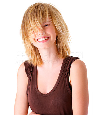Buy stock photo Portrait of a happy young blonde girl smiling. Wearing a brown top. This collections unique keyword is: emma123