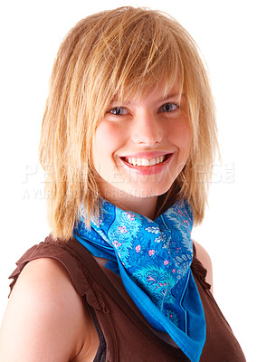 Buy stock photo Portrait of a happy young blonde girl smiling. Wearing blue scarf and red sweater. This collections unique keyword is: emma123
