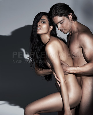 Buy stock photo An attractive nude couple making love