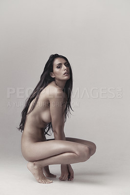 Buy stock photo An artistic nude portrait of a beautiful young brunette