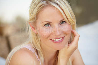 Buy stock photo Portrait of a beautiful mature woman smiling at you