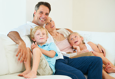Buy stock photo Portrait of a loving family of four spending time together