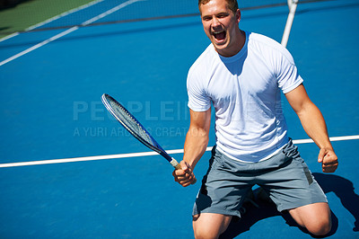 Buy stock photo Shot of a man celebrating victory in a tennis match