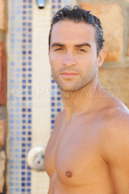 Buy stock photo Handsome young man taking an outdoor shower - portrait