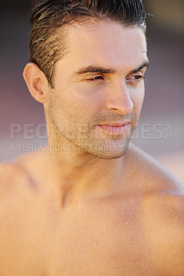 Buy stock photo Closeup of a handsome young topless man looking sideways