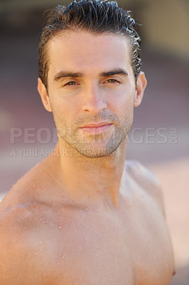 Buy stock photo Closeup of a handsome young topless man
