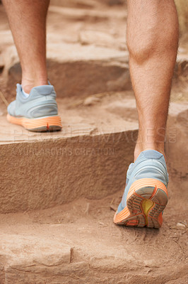 Buy stock photo Cropped image of a hikers legs climbing stairs