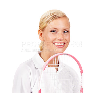 Buy stock photo Closeup portrait of an attractive young woman standing with her tennis racquet