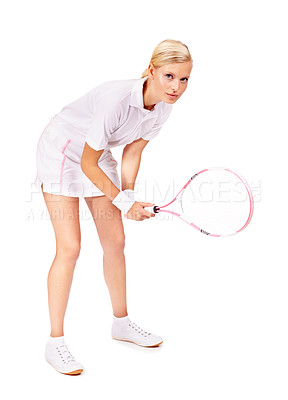 Buy stock photo Full body portrait of an attractive young woman getting ready to return the serve