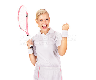 Buy stock photo Portrait of a beautiful young woman cheering while holding her tennis racquet