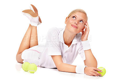 Buy stock photo Portrait of an attractive young woman looking young upwards while lying on the floor