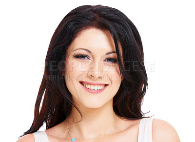 Buy stock photo Head and shoulders portrait of an attractive brunette woman isolated on white