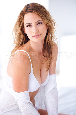 Buy stock photo A portrait of a beautiful woman with exposed shoulders and bra