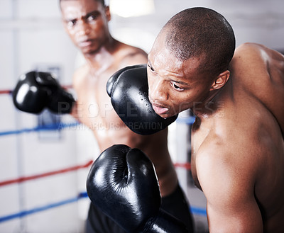 Buy stock photo An african american boxer delivering a knockout punch to his opponent's jaw