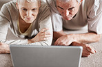Senior couple looking at the screen of a laptop computer