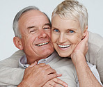 Closeup of a happy elderly couple enjoying themselves