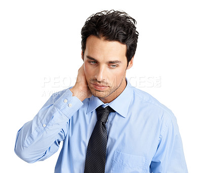 Buy stock photo Tired young businessman feeling demoralized and negative