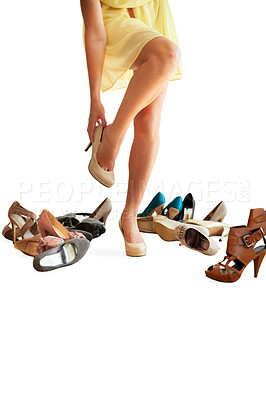 Buy stock photo Cropped image of a woman trying on shoes isolated on white