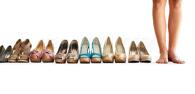 Buy stock photo Cropped image of a woman standing next to a row of shoes isolated on white