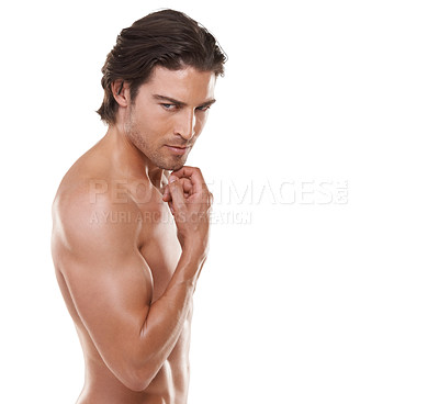 Buy stock photo Cropped portrait of a naked man smiling against a white background