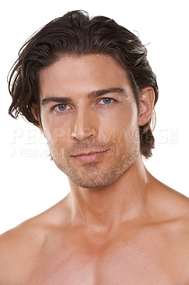 Buy stock photo Cropped head and shoulders portrait of a handsome man