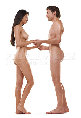 Buy stock photo Shot of a naked man and woman standing in a studio