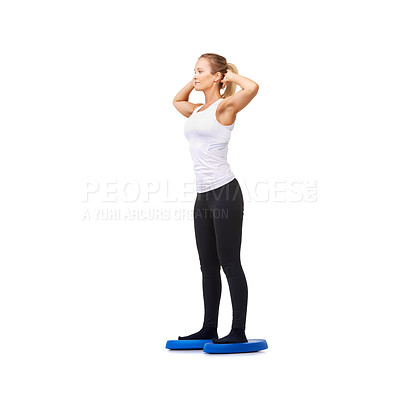 Buy stock photo Full length studio shot of an attractive woman doing exercises isolated on white
