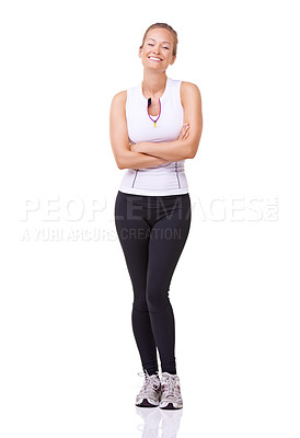 Buy stock photo Full length studio portrait of a beautiful young woman smiling at the camera isolated on white