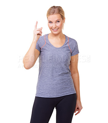 Buy stock photo Studio portrait of an attractive woman in gym clothes isolated on white