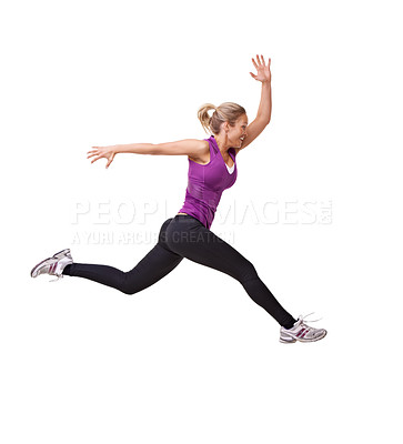 Buy stock photo Studio shot of a woman leaping through the air across the frame isolated on white