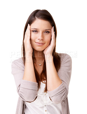 Buy stock photo Smiling young woman with her hands on either side of her face
