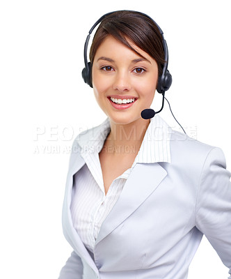 Buy stock photo Portrait of a successful female call centre employee wearing a headset against white