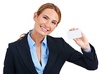 Happily showing you a businesscard