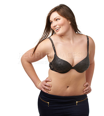 Buy stock photo A plump beauty working her curves on an isolated background