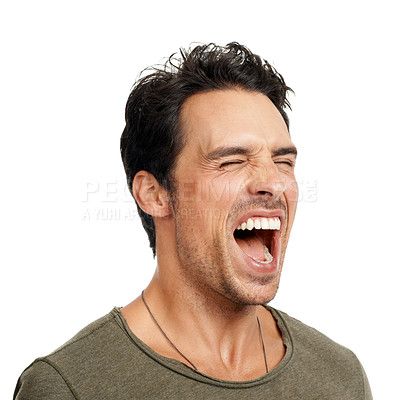 Buy stock photo A handsome young man screaming