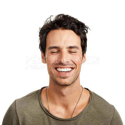 Buy stock photo A handsome young man smiling with his eyes closed