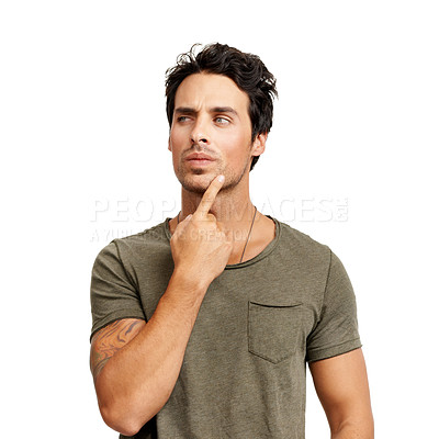 Buy stock photo A handsome young man thinking