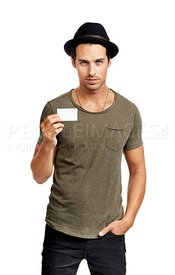 Buy stock photo A handsome young man holding a business card