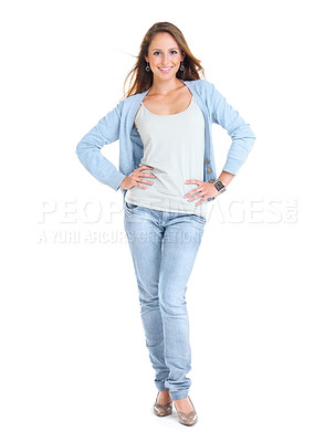 Buy stock photo Full length portrait of a pretty young woman posing over white background