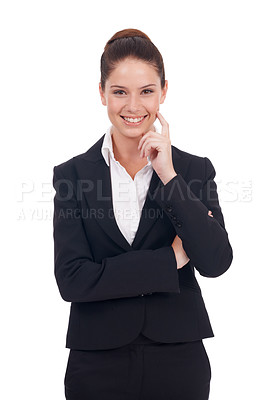 Buy stock photo Studio shot of a happy-looking young business woman standing with her hand on her chin isolated on white