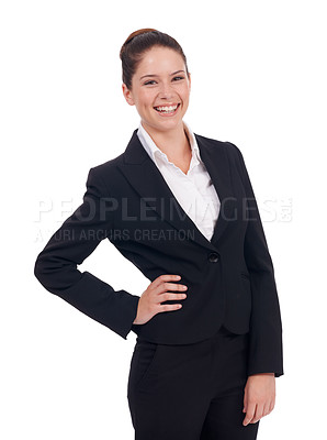 Buy stock photo Studio shot of a young business woman standing with her hand on her hip isolated on white