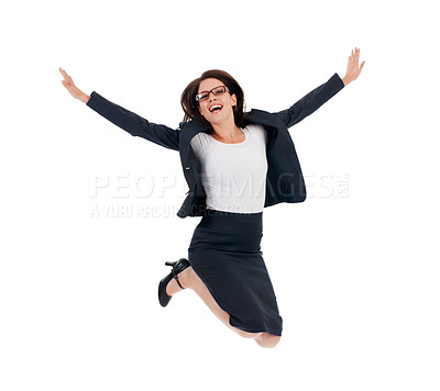 Buy stock photo Studio shot of an ecstatic looking businesswomen jumping for joy isolated on white